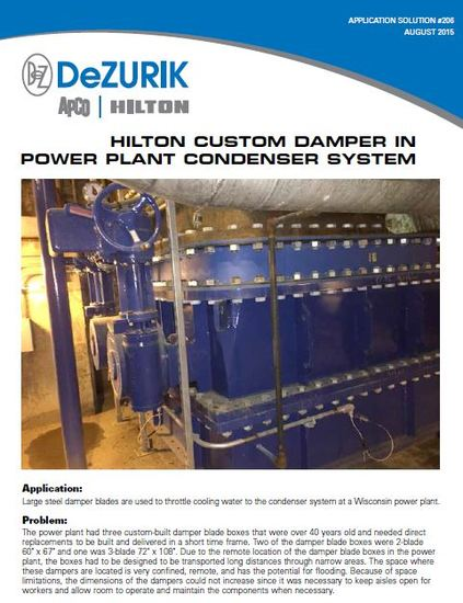 Hilton Designs Custom Damper for Power Plant Condenser System